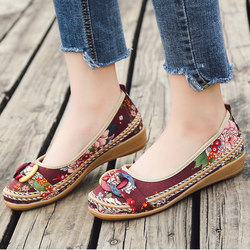 2018 Ethnic Fabric Straw Spring Autumn Ballet Flats Ladies Flower Casual Slip On Platform Loafers Female Fashion Women Shoes