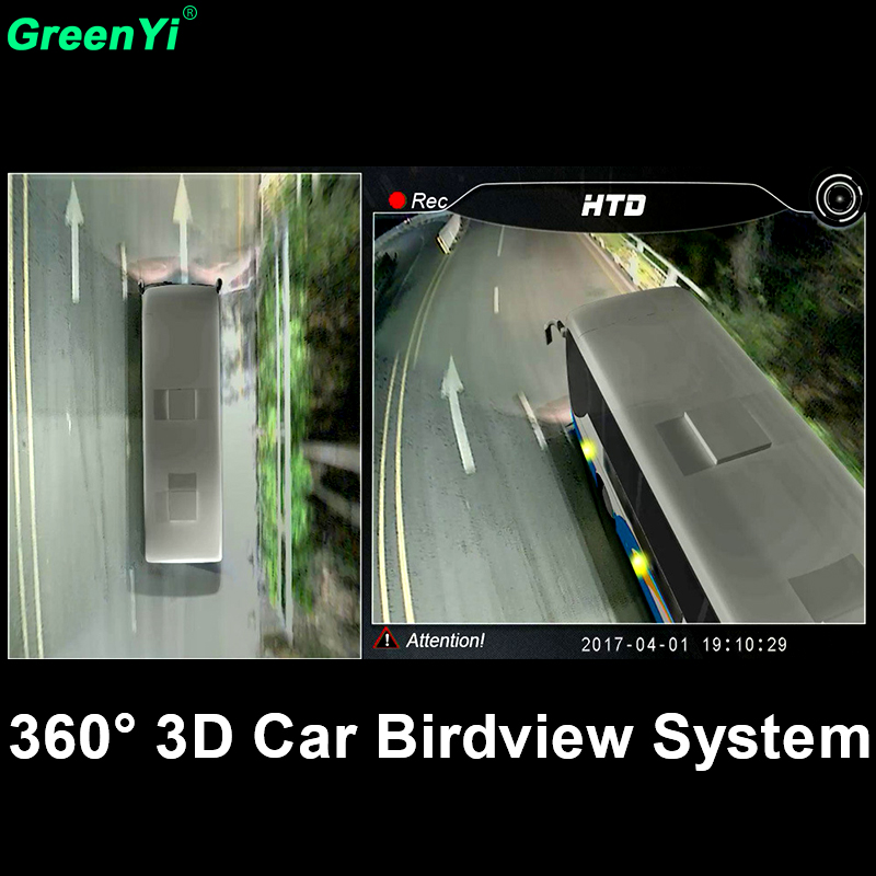 GreenYi 3D HD 360 Degree Surround View Camera System For Truck, Bus, Recording 3D View 360 Degree DVR Bird View Panorama System