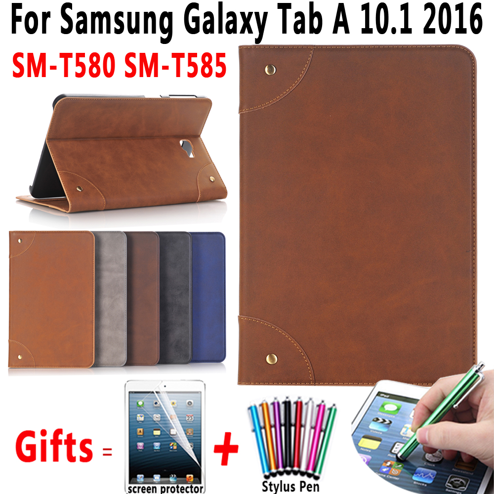 Premium Retro Leather Flip Book Cover for Samsung Galaxy Tab A 10.1 2016 T580 T585 SM-T580 SM-T585 Case with Screen Protector