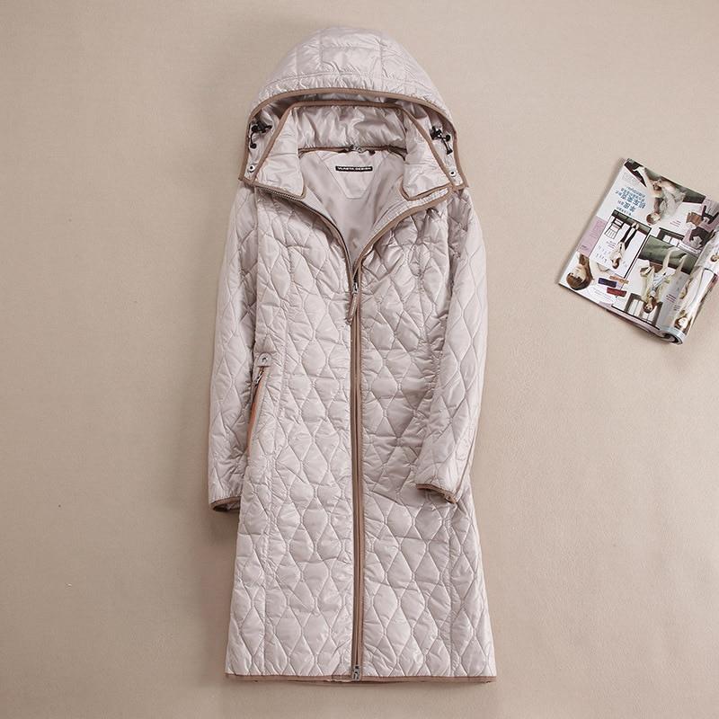 DHfinery őszi téli női kabát Hosszú kivitel, kapucnis felsőruházattal, plusz méret 48-58 Európa számára Oroszország kék, kaki és bézs színű kabát