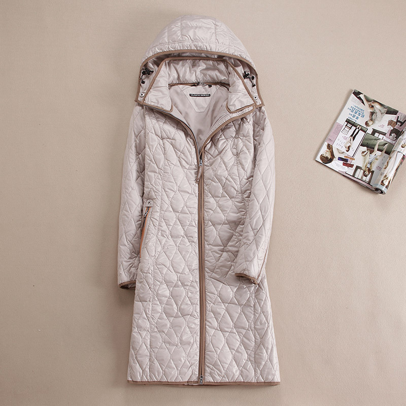 DHfinery herfst winter vrouwen jas Lange ontwerp met een kap bovenkleding plus maat 48-58 Voor Europa Rusland blauwe, kaki en beige jas