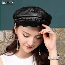 SILOQIN Women Genuine Leather Hat Autumn Winter First Layer Sheepskin Military Hats Casual Solid Color Flat Cap Woman