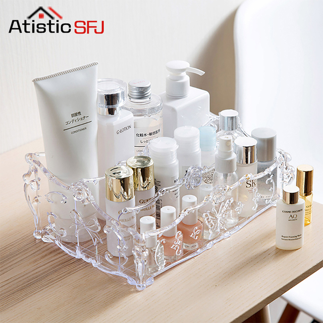 Large Capacity Storage Organizer Clear Acrylic Makeup Organizer Vintage Bathroom Cosmetic Storage Box Makeup Display Case