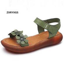 Light Comfortable Flowers Summer Fashion Sandals Genuine Leather Shoes 2019 New Women Sandals Flat Casual Shoes Summer Sandals gktinoo woman genuine leather flat sandals summer shoes casual comfortable flower sandals women sandals big size