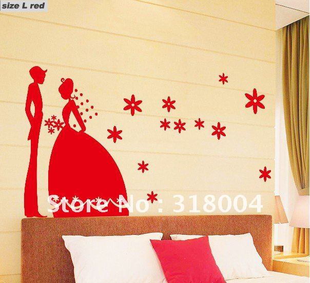 Romantic wedding removable wall sticker wedding room wall decor ...