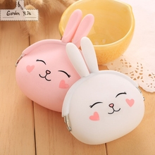 2016 New Fashion Coin Purse Lovely Kawaii Cartoon Rabbit Pouch Women Girls Small Wallet Soft Silicone Coin Bag Kid Gift