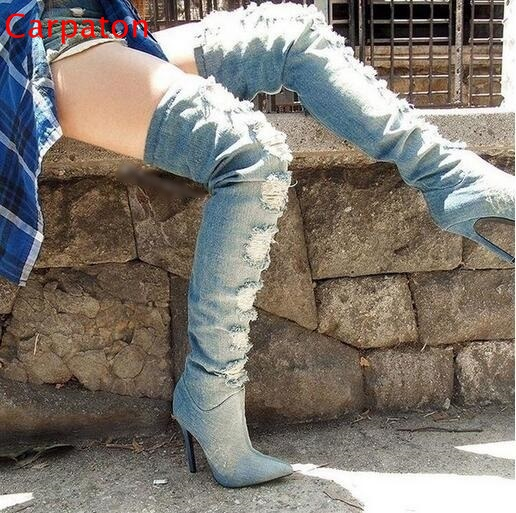 Sexy Blue Denim Over The Knee Boots Pointed Toe Ripped Jeans Tight High Boot Side Zipper High Thin Heel Shoes Woman Hollow Out new arrival high quality over the knee women boots sexy pointed toe shoes stiletto high heels blue denim jeans women boots