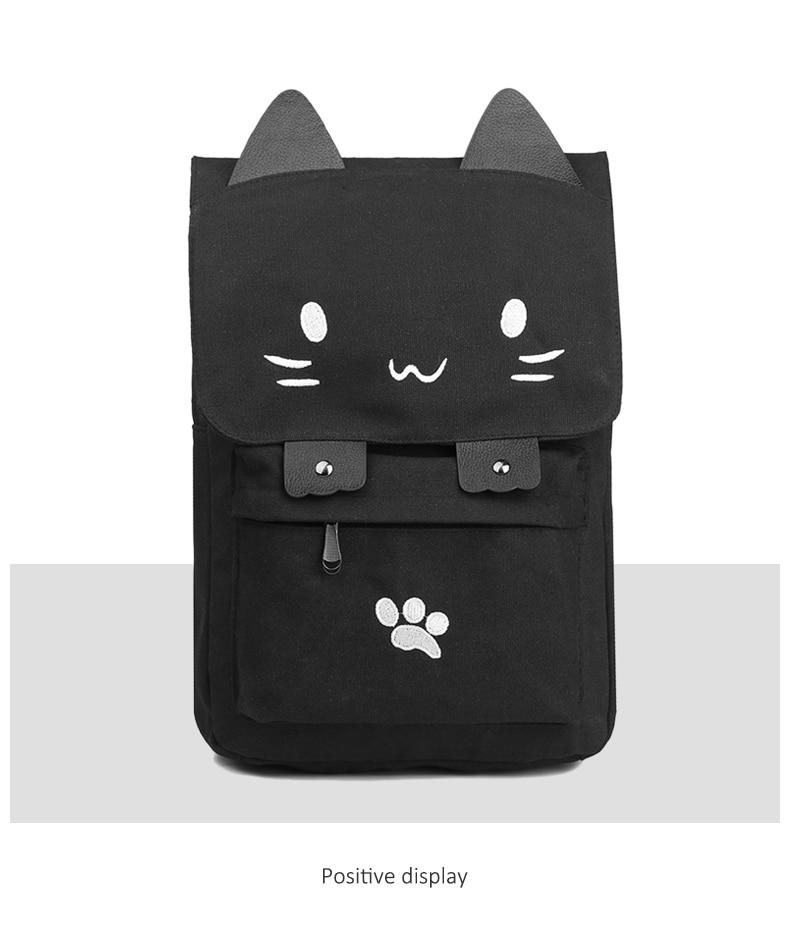 HTB1cip8a.GF3KVjSZFmq6zqPXXa6 Cute Cat Canvas Backpack Cartoon Embroidery Backpacks For Teenage Girls School Bag Fashio Black Printing Rucksack mochilas XA69H