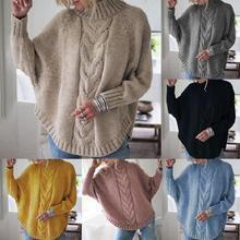 2019 yeni düz renk Polyester bahar ve sonbahar kış bayanlar yarasa kollu örgü kazak