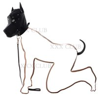 2 pcs/kit dog slave kit Dog Hood with muzzle and Dog Tail Butt Plug,offers visual and functional appeal for puppy play