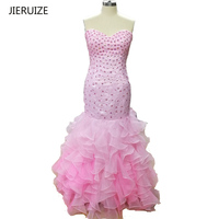 JIERUIZE Hồng Organza Mermaid Evening Dresses Dài Sweetheart Tầng Beaded Prom Dresses Evening Gowns Formal Dresses