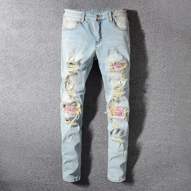 Fashion Streetwear Men Jeans Retro Light Blue Washed Slim Fit Elastic Ripped Jeans Men Patchwork Destroyed Pants Hip Hop Jeans