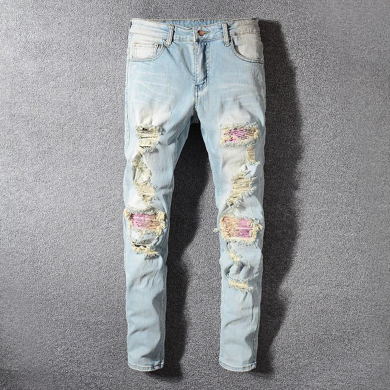 Fashion Streetwear Men Jeans Retro Light Blue Washed Slim Fit Elastic Ripped Jeans Men Patchwork Destroyed Pants Hip Hop Jeans