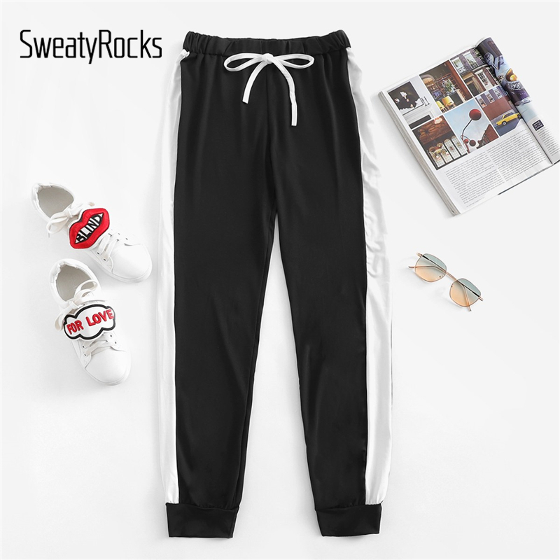 SweatyRocks Leisure Black Contrast Panel Side Drawstring Sweatpants Mid Waist Workout Long Pants 2018 Autumn Women Jogger Pants
