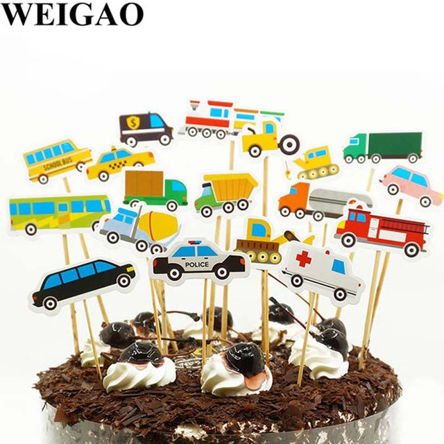 WEIGAO Boy Birthday Cake Toppers Traffic Car Bus Shape Cupcake Topper Kids Decorative Flags Sign Baby Shower Decor