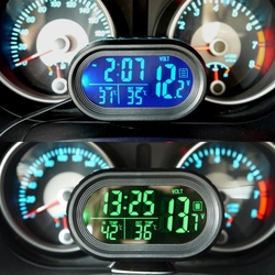 OOTTDY Digital Car LCD Clock Voltmeter Thermometer Battery Voltage Temprerature Monitor DC 12V-24V Freeze Alert