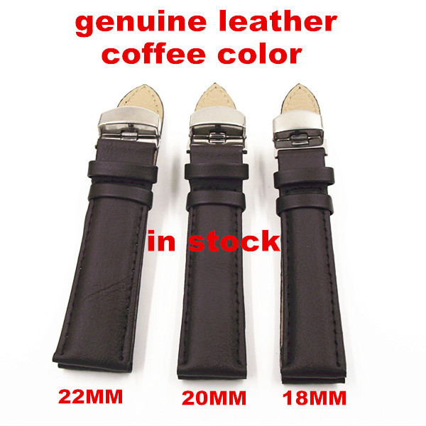 1pcs High quality 18MM 20MM 22MM genuine leather coffee color Watch band watch strap - 111102 1pcs high quality 18mm 19mm 20mm 22mm 24mm genuine cow leather watch band watch strap coffee black white color