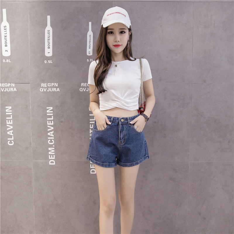New fashion spring summer denim female short loosen slim jeans flanging women short in Shorts from Women 39 s Clothing