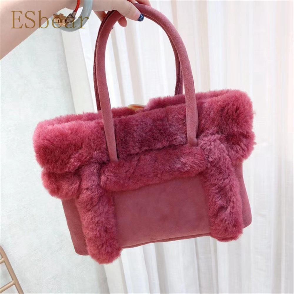 Esbear Top Australia Sheepskin Leather Handbags Winter Warm Wool Fur  Women s Bags 2019 New Casual Female Bags Luxury Brands Bags-in Top-Handle  Bags from ... e17273ebe5111