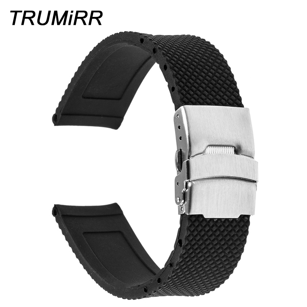 Silicone Rubber Watchband 19mm 20mm 21mm 22mm for IWC Men Women Watch Band Wrist Strap Stainless Steel Safety Buckle Bracelet