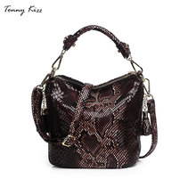 Tonny Kizz luxury handbags women designer tote bags leather bucket shoulder serpentine with tassel small crossbody