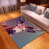 Animal Deer Printed Rugs Modern 3D Carpets for Home Living Nordic Large Area Rug for Bedroom Anti slip Children Play Mat Doorway