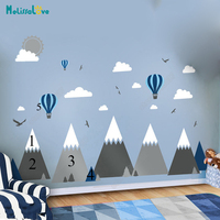 Big Baby Room Decal Adventure Theme Decor Huge Mountain Cloud Bird Hot Balloon Kid Room Removable Vinyl Wall Sticker JW375
