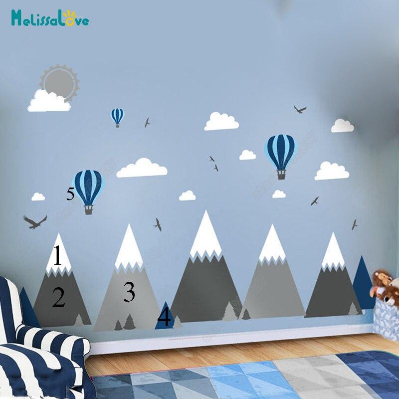 Großes Baby Zimmer Aufkleber Adventure Theme Decor Riesige Mountain Cloud Vogel Heißen Ballon Kinderzimmer Abnehmbare Vinyl Wandaufkleber JW375
