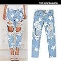 2017 Europa y los Estados Unidos las mujeres nuevo agujero vaquero loose recta impresión estrella pantalones vaqueros BF 9 puntos pantalones vaqueros agujero tendencia