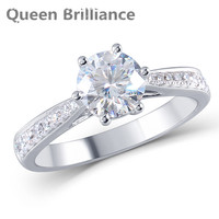 여왕 광채 1ct 연구소는 모이 사 나이트 다이아몬드 약혼 반지 정품 14 천개 585 화이트 골드 여성 보석 반지