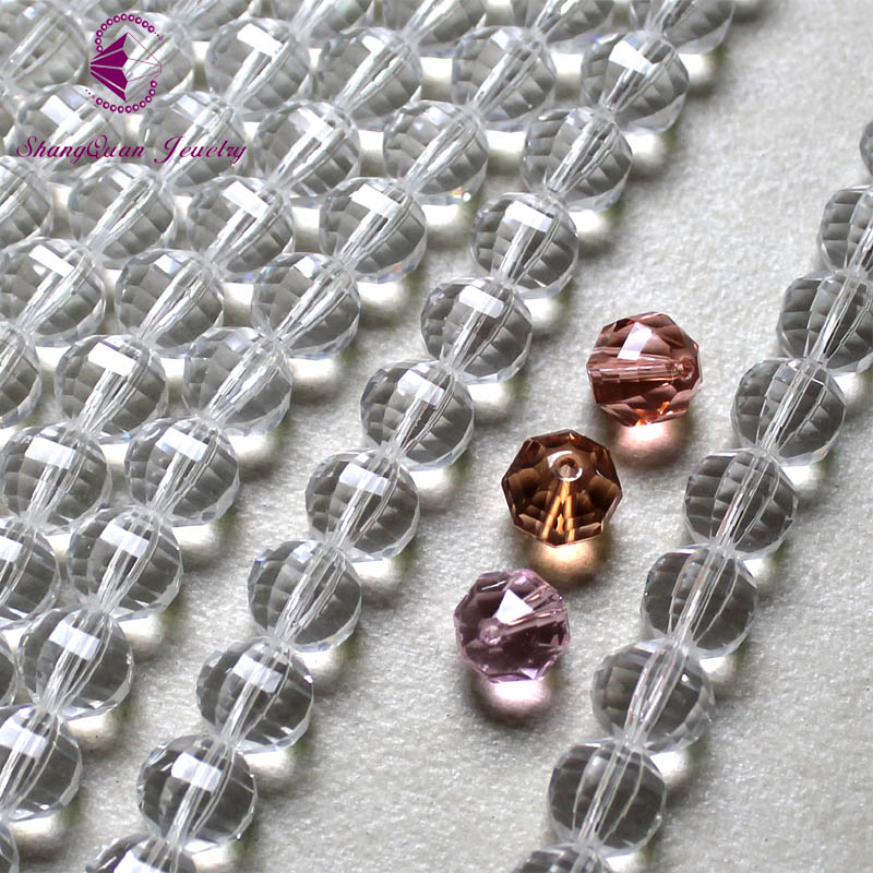 Faceted Glass Crystal Round Beads 10mm 30 Colors Fancy DIY beads Free Shipping SQ3A310 Gridding Faces in Beads from Jewelry Accessories