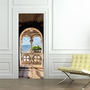 Image 5 - Estantería de libros, estantería Vintage de madera para puerta, pegatinas de puerta y pared para habitación de niños, pegatina para escena de balcón, Baño