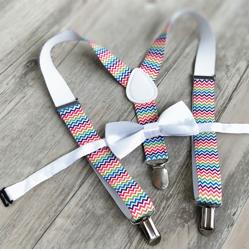 OnnPnnQ Fashion Children Suspenders 3 Clip-on Y Back Colorful Elastic Braces Bow Tie Set Clothing Accessories For Girls Boys