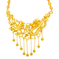 Luxury Bridal Wedding Jewelry Yellow Gold Filled Dragon & Phoenix Necklace High Quality Bride Accessories