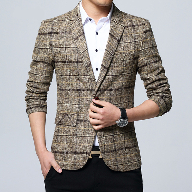 e62a9e217b5c9 2018 New Arrival Khaki Suit Jacket Men Casual Plaid Slim Fit Heren Blazer  Male Simple Smart Casual Coat Single Button 4XL 5XL