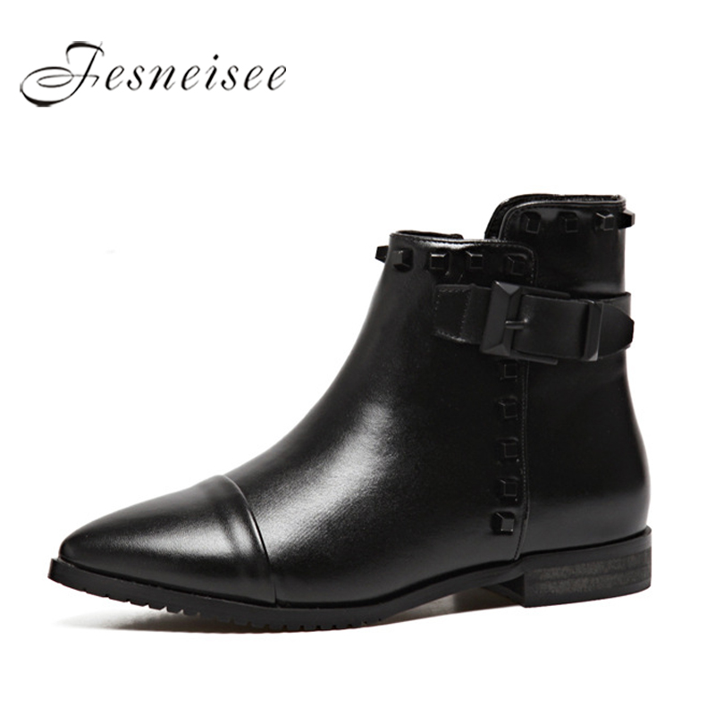 FESNEISEE Women Ankle Boots Black Cool Rivet Belt Boots Low Heels Shoes Woman 2018 Autumn Winter Botas Mujer Pointed Toe black ankle boots women high heels pointed toe sexy snow boots woman shoes rivets zipper winter women boots botas mujer us35 40