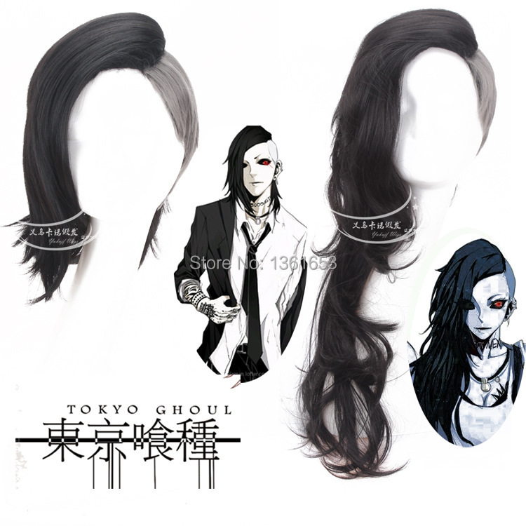 Tokyo Ghoul male and female COS wig Mask Maker Uta Wig short and long black and silver G ...