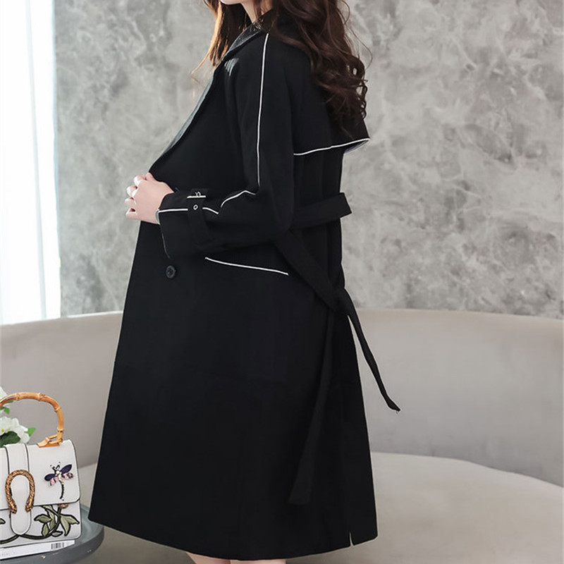 Coréenne Laine Style Femme Manteaux Vintage Noir Poches Mode Long De Manteau Casual D'hiver 2018 qwaYTt