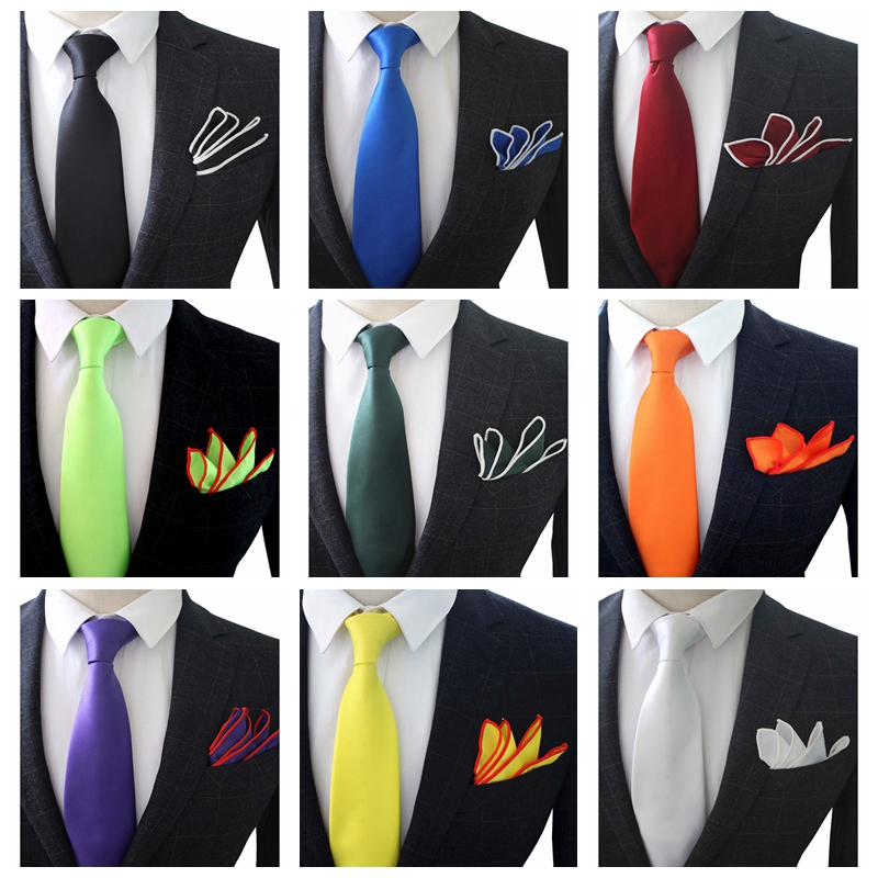 JEMYGINS Original 3.5inch High Quality Hand Made Silk Multicolor Solid Neck Tie & Pocket Square Set For Men Wedding Party
