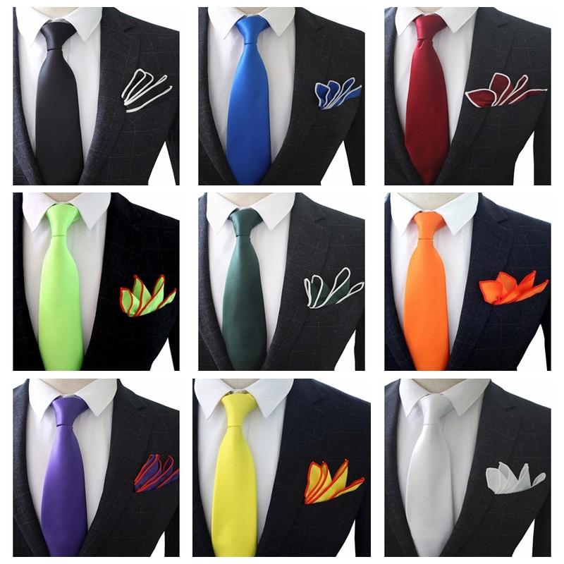 JEMYGINS Original 3.5inch High Quality Hand Made Silk Multicolor Solid Neck Tie & Pocket Square Set For Men Wedding Party