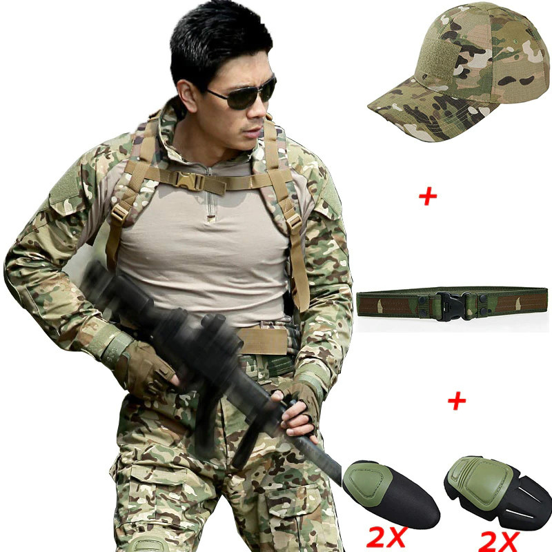 Military Uniform Tactical Combat Pants With Knee Pads Tactico CPU Camouflage Clothing Militar Army ACU Uniforms  CS Clothes Men