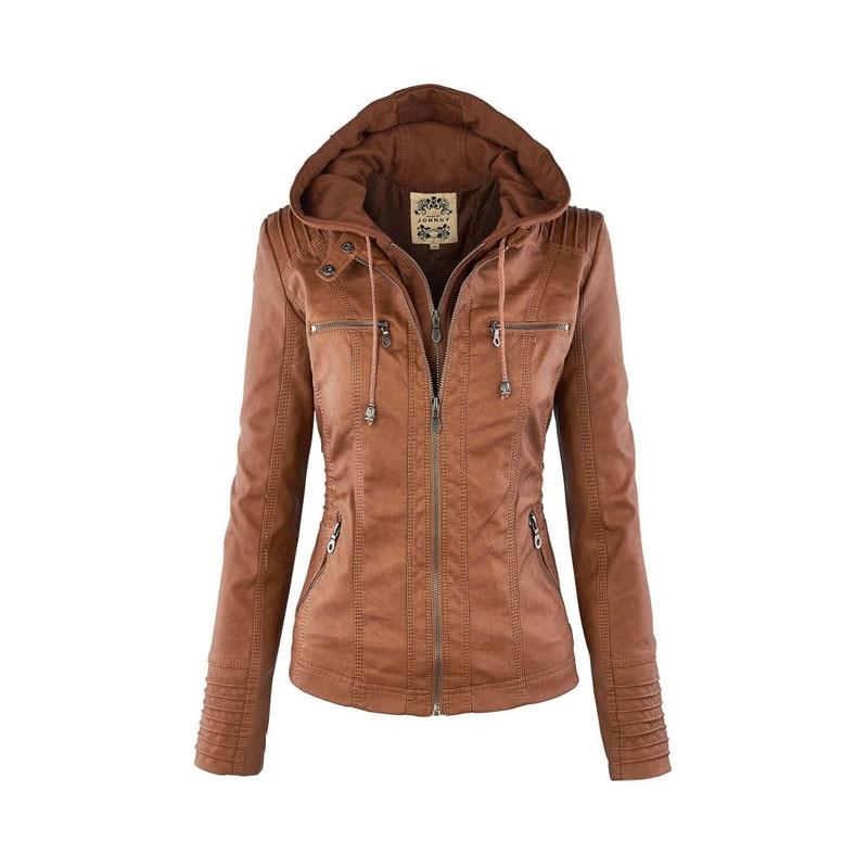 Podzimní nové umělé kožené bundy dámské mikiny s kapucí na zip s kapucí FS0123