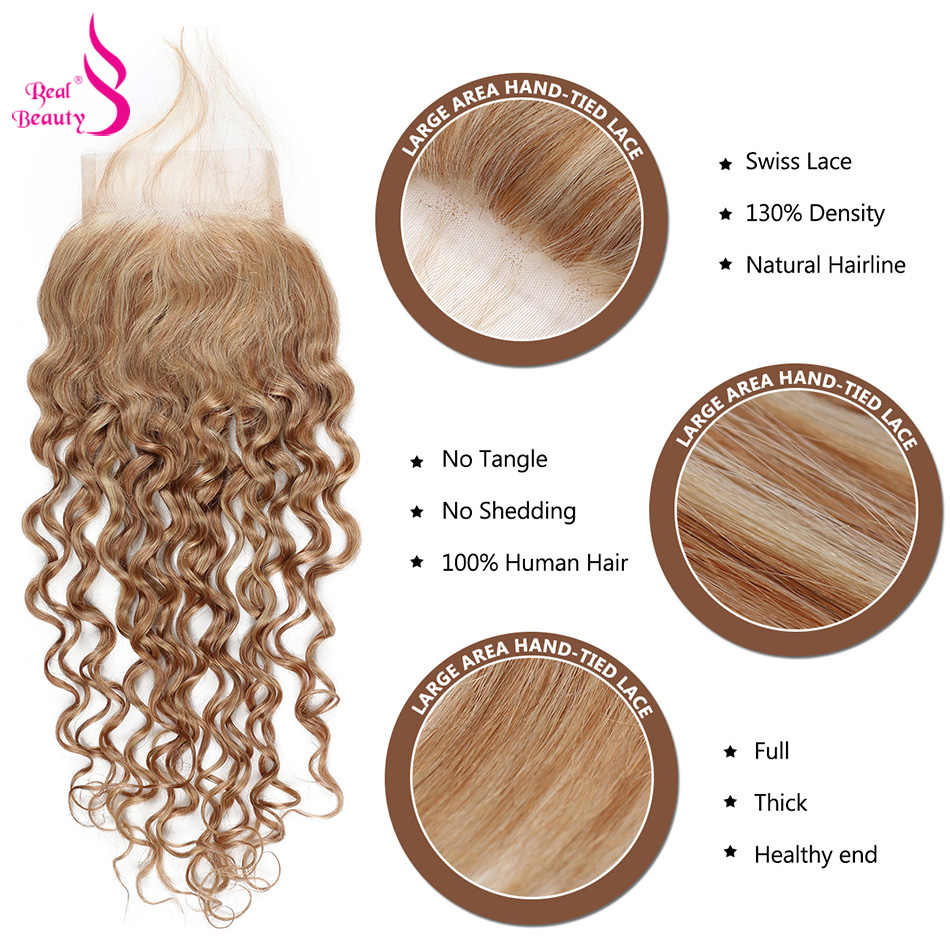 Real beauty Brazilian Water Wave Closure Free Part Remy Hair 4*4 Swiss Lace with Baby Hair 130% density Free Shipping