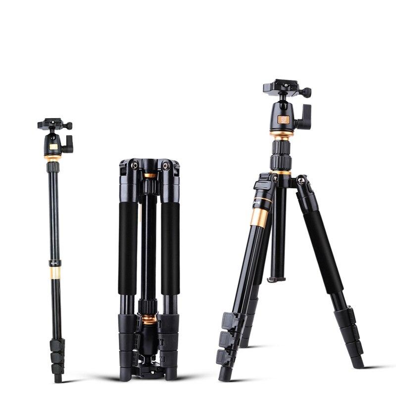 Trépied de caméra QZSD Q555 en alliage d'aluminium caméra monopode vidéo trépied extensible professionnel avec support de plaque à dégagement rapide