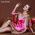 RB027 Grandes Tallas Grandes Mujer Robes Camisón para Las Mujeres Albornoz de la Mancha de Seda ropa de Dormir Camisón Ropa Interior del Hogar