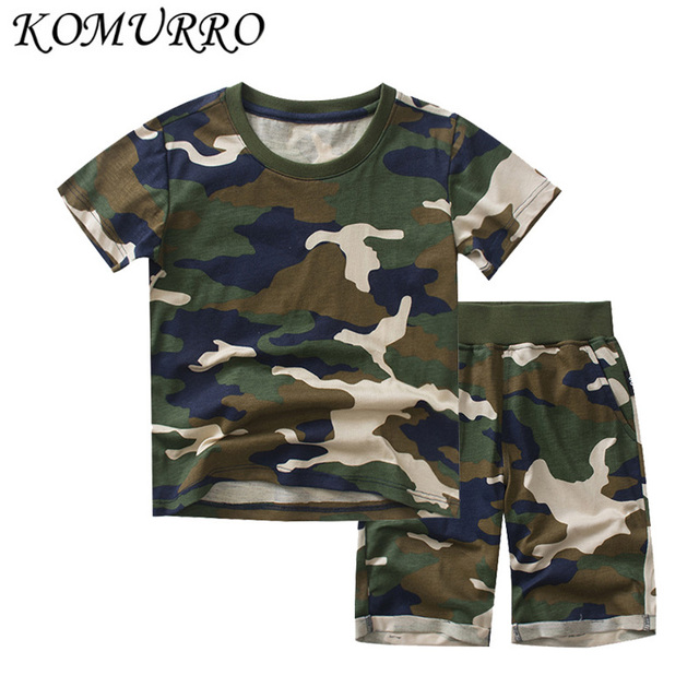 Summer Toddler Boy Girls Clothes Set 2019 New 2pcs Camouflage Short Sleeve T shirt And Pants Suits Children Boy Clothing Outfit