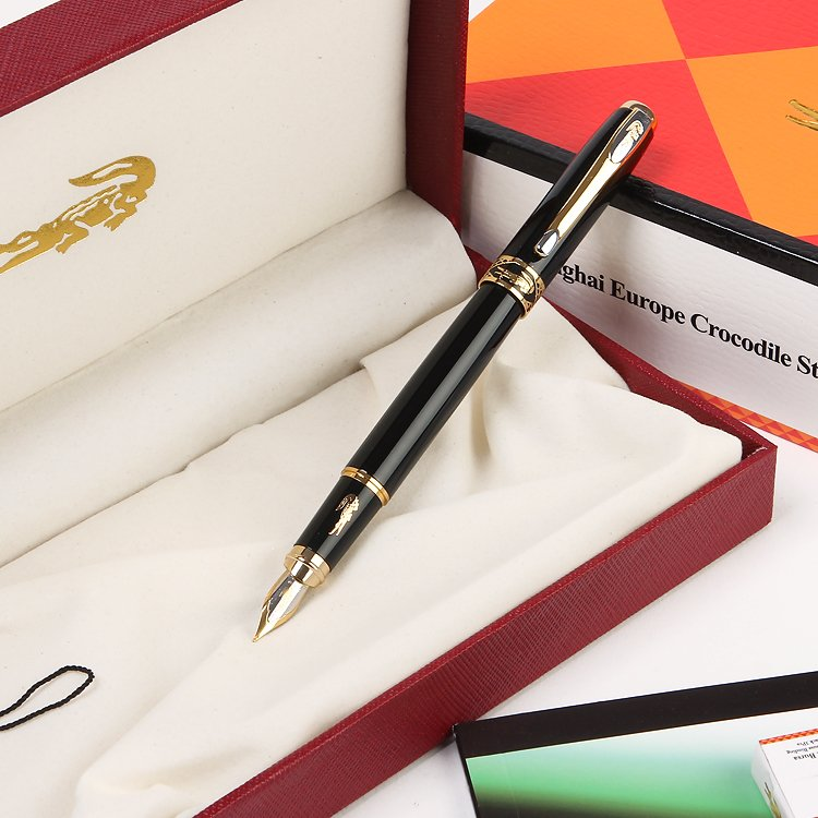 Luxury Stationery office business Supplies Crocodile 320 fountain pens elegant writing brand ink pen with gift pen box duke luxury writing business stationery black and gold 0 5mm fountain pen with blue gem on the top metal ink pens free shipping