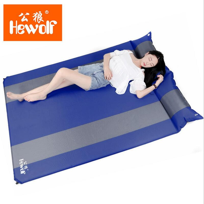 Hewolf Air Mattress Double Camping Bed Beach Mat Self Inflatable Mattress Sleeping Pad Yoga Mat With Pillow 188*130*3cm betos car air mattress travel bed auto back seat cover inflatable mattress air bed good quality inflatable car bed for camping