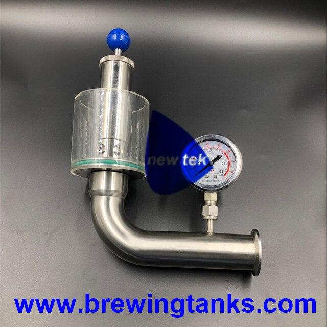 1 5 inch tri clamp sanitary air release valve w pressure gauge fermenter spunding valve