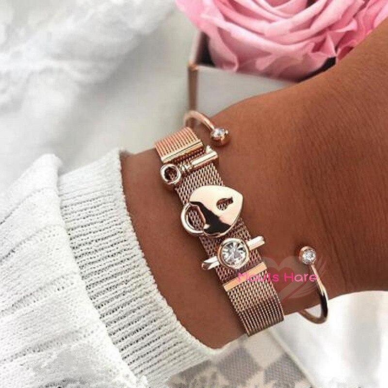 Mavis Hare Rose Gold Schlüssel der ihre herz der schloss Mesh Charme Armband Set mit Edelstahl Kristall Manschette Armreif für Frauen Geschenk